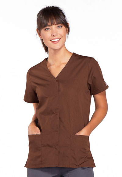 WW Originals Women's Snap Front V-Neck Top Brown
