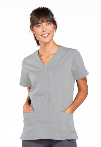 Cherokee Workwear WW Originals Women's Snap Front V-Neck Top Grey