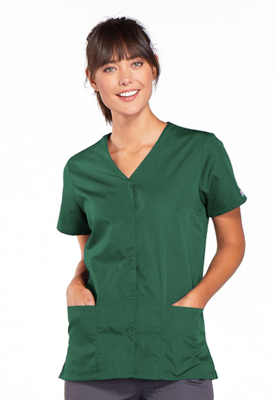Cherokee Workwear WW Originals Women's Snap Front V-Neck Top Green