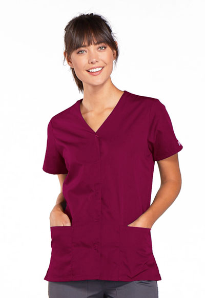 Cherokee Workwear WW Originals Women's Snap Front V-Neck Top Purple