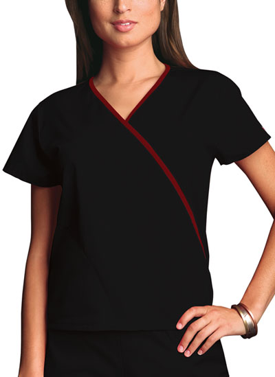 Cherokee Workwear WW Originals Women's Mini Mock Wrap Top Black