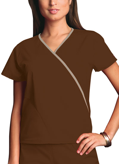 Cherokee Workwear WW Originals Women's Mini Mock Wrap Top Brown