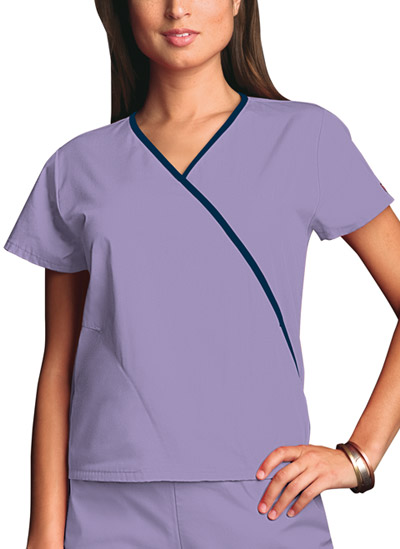 6d9223655a9 Photograph of WW Originals Women's Mini Mock Wrap Top Purple 4800-ORCW