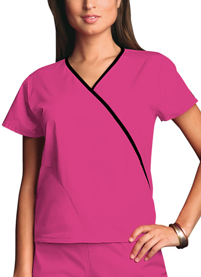 Cherokee Workwear WW Originals Women's Mini Mock Wrap Top Pink