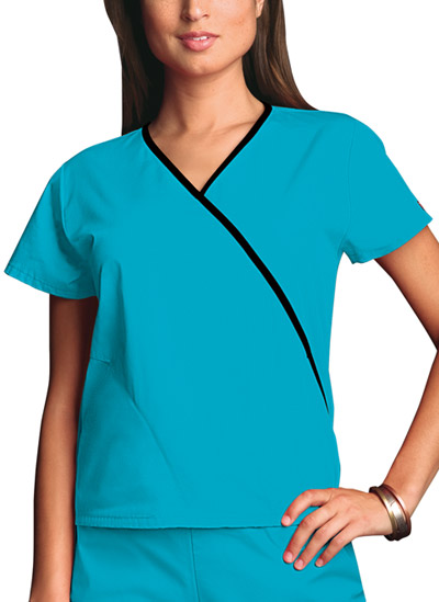 Cherokee Workwear WW Originals Women's Mini Mock Wrap Top Blue