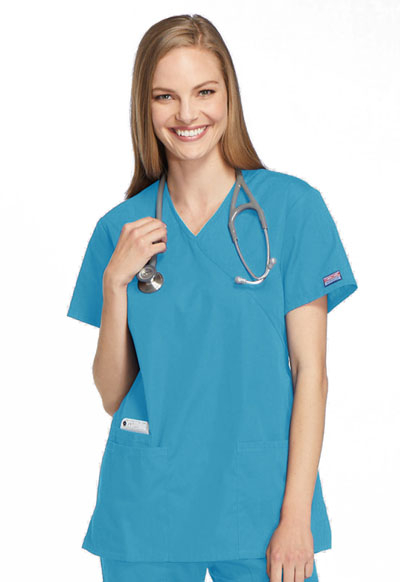 Cherokee Workwear WW Originals Women's Mock Wrap Tunic Blue
