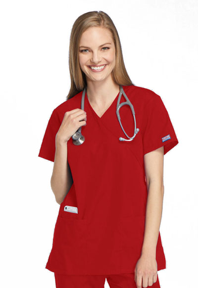 Cherokee Workwear WW Originals Women's Mock Wrap Tunic Red