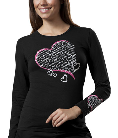 "Cherokee Workwear WW Originals Women's ""Healing Heart"" Long Sleeve Knit Tee Black"