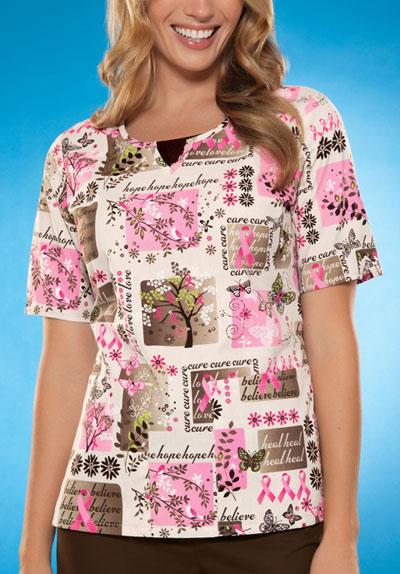 Scrub HQ Cherokee Prints Women's Round Neck Top Khaki