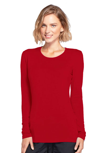 WW Originals Women Long Sleeve Underscrub Knit Tee Red