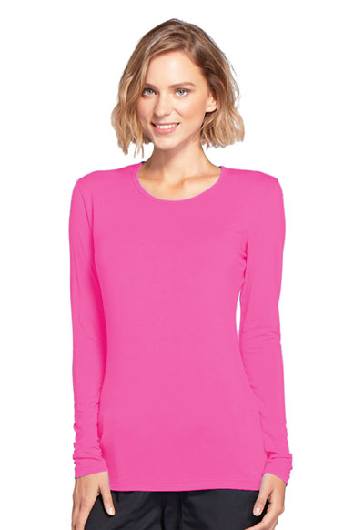 WW Originals Women's Long Sleeve Underscrub Knit Tee Pink