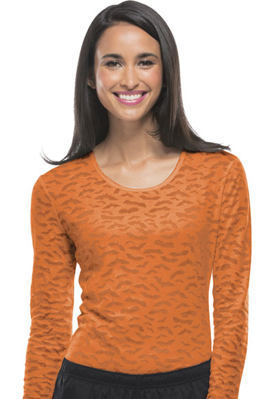 WW Originals Women's Long Sleeve Underscrub Knit Tee Orange
