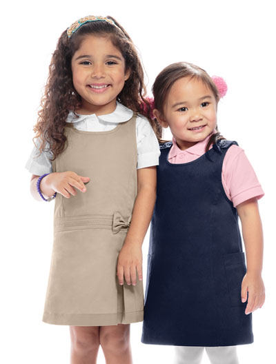 Khaki Classroom Little Girls  Uniform Princess Seam Jumper Dress 6