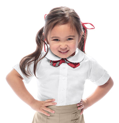 Classroom Preschool Toddler Girls S/S Peter Pan Blouse White