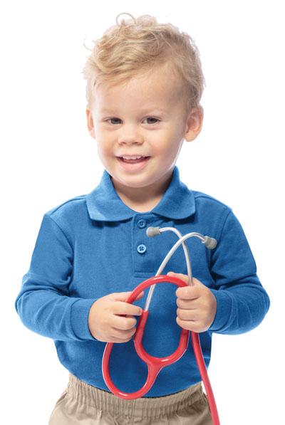 Classroom Preschool Preschool Unisex LS Pique Polo Blue