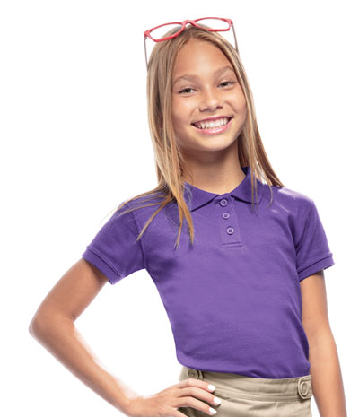 Classroom Girl\'s Girls Short Sleeve Fitted Interlock Polo Purple
