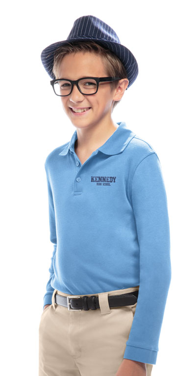 Classroom Child's Unisex Youth Unisex Long Sleeve Interlock Polo Blue