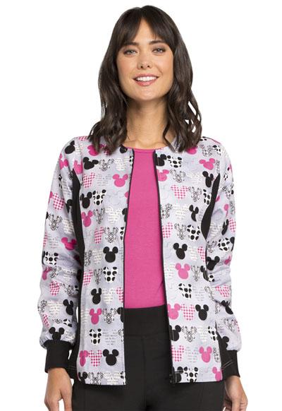 Cherokee Licensed Women's Zip Front Knit Panel Warm-Up Jacket Gray