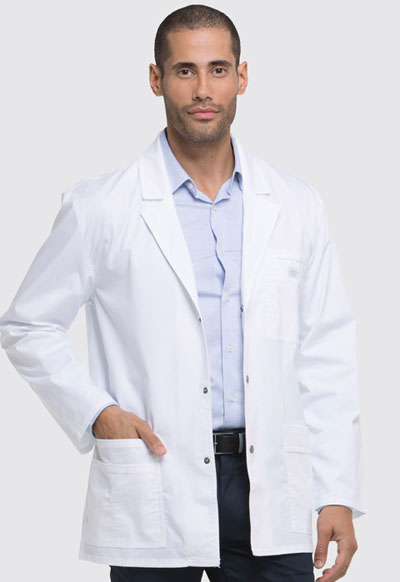 "Gen Flex Men's 31"" Men's Snap Front Lab Coat White"