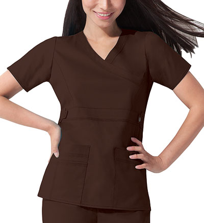Gen Flex Women's Mock Wrap Top Brown