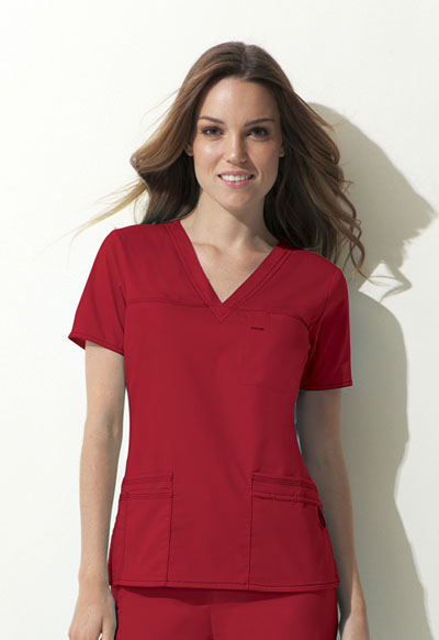 Dickies Gen Flex Women's V-Neck Top Red