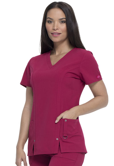 Dickies Xtreme Stretch V-Neck Top Women 82851 WDCH Wild Cherry Free Shipping