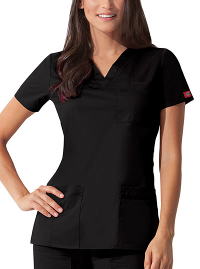 "Dickies Gen Flex Women's ""Youtility"" V-Neck Top Black"