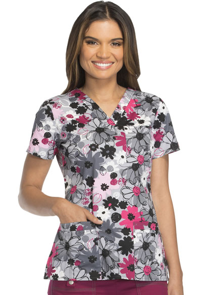 Dickies Prints Women's V-Neck Top Floral Camo Collage