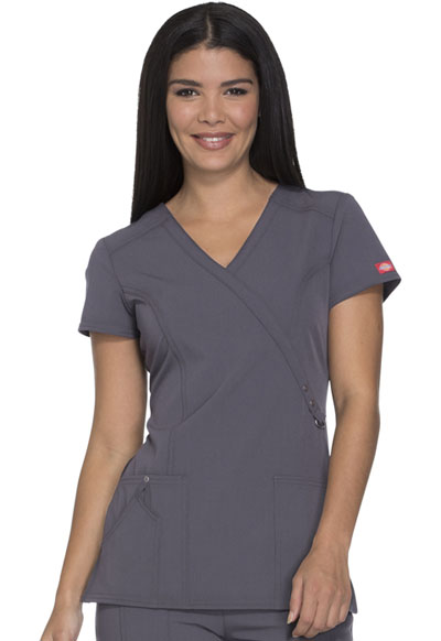 Dickies Xtreme Stretch Women's Mock Wrap Top Gray