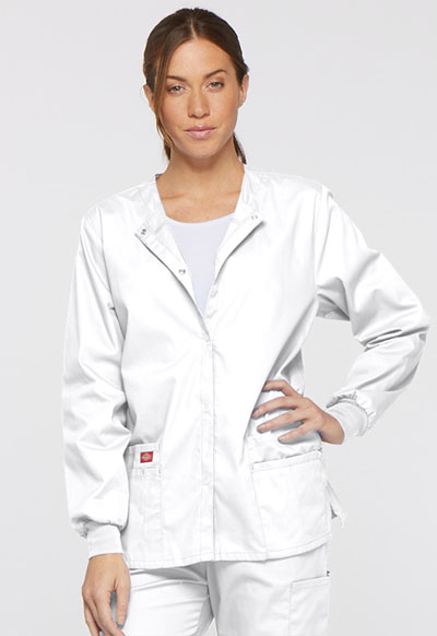 Dickies EDS Signature Women's Snap Front Warm-Up Jacket White