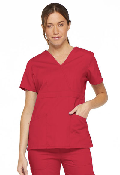 Dickies EDS Signature Women's Mock Wrap Top Red