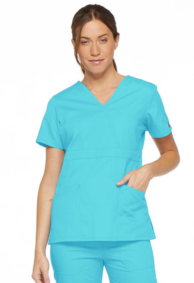 69fcb7ea989 EDS Signature Mock Wrap Top in Turquoise 86806-TQWZ from Scrubs Express