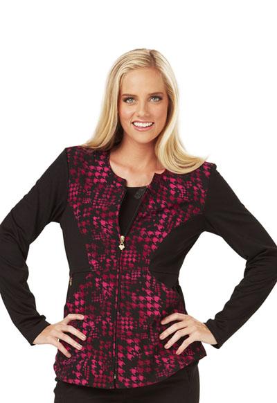 Careisma Prints Women's Zip Front Jacket Haute In Houndstooth