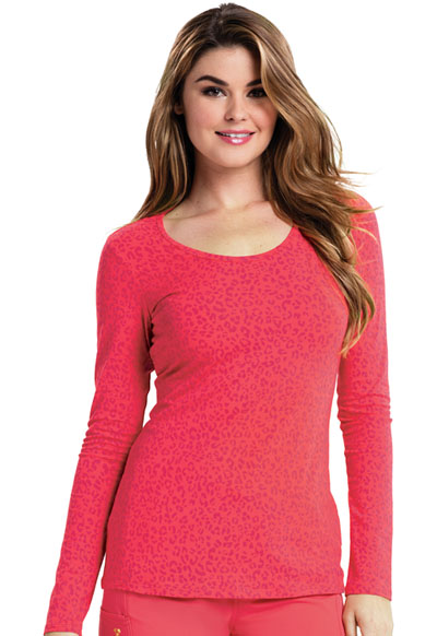 Careisma Women's Long Sleeve Underscrub Knit Tee So Haute Icy Coral