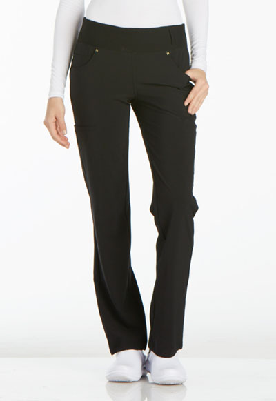 iFlex Women's Mid Rise Straight Leg Pull-on Pant Black