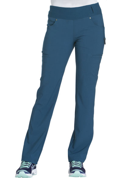 iFlex by Cherokee Women's Mid Rise Straight Leg Pull-on Pant Blue