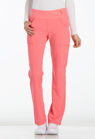 iFlex by Cherokee Women's Mid Rise Straight Leg Pull-on Pant Pink
