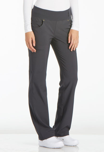 iFlex by Cherokee Women's Mid Rise Straight Leg Pull-on Pant Gray