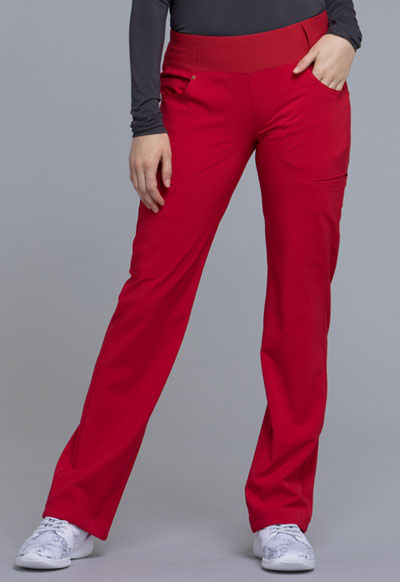 iFlex Women Mid Rise Straight Leg Pull-on Pant Red