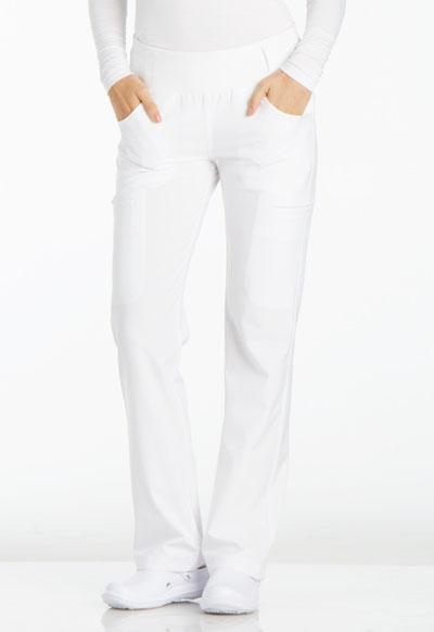 iFlex by Cherokee Women's Mid Rise Straight Leg Pull-on Pant White