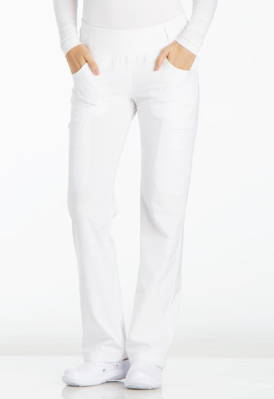 iFlex by Cherokee Women's Mid Rise Straight Leg Pull-on Pant White