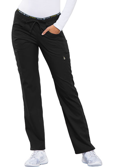 Cherokee Luxe Sport Women's Mid Rise Straight Leg Pull-on Pant Black