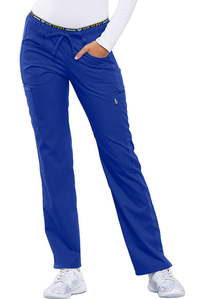 Luxe Women Mid Rise Straight Leg Pull-on Pant Blue