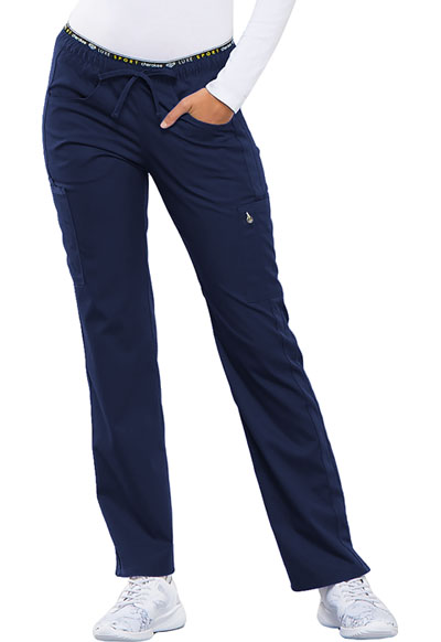 Cherokee Luxe Women's Mid Rise Straight Leg Pull-on Pant Blue