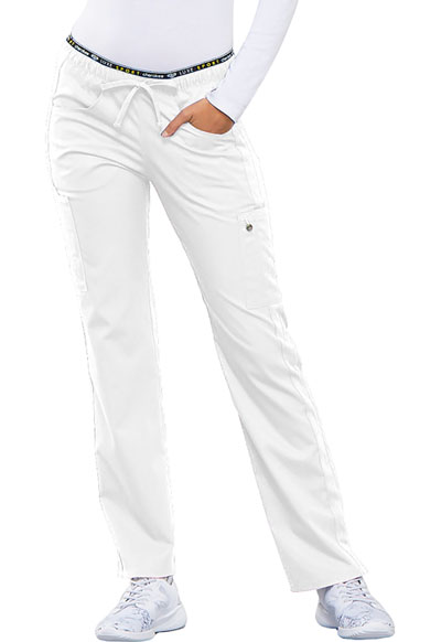 Cherokee Luxe Women's Mid Rise Straight Leg Pull-on Pant White