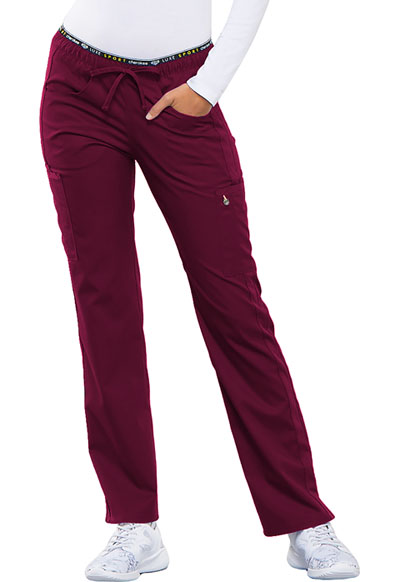 Luxe Sport Women Mid Rise Straight Leg Pull-on Pant Red