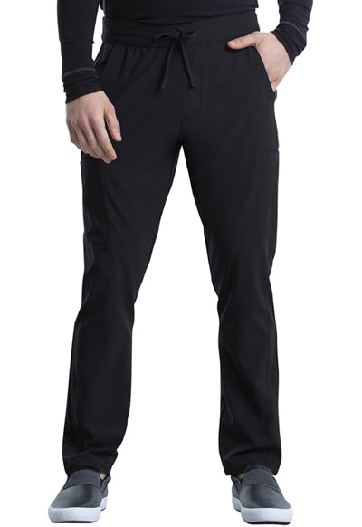 iFlex Men Men's Tapered Leg Drawstring Cargo Pant Black