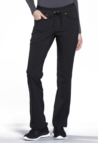iFlex Women's Mid Rise Tapered Leg Drawstring Pants Black