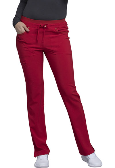 iFlex Women's Mid Rise Tapered Leg Drawstring Pants Red