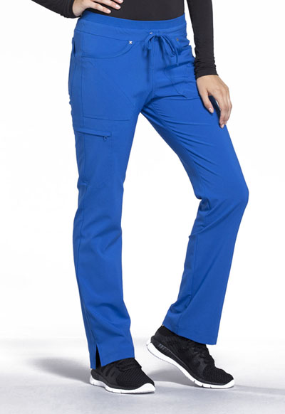 iFlex Women's Mid Rise Tapered Leg Drawstring Pants Blue